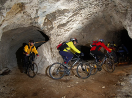 Cave bicycling in Slovenia