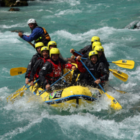 Rafting in the swollen river Soca in Slovenia