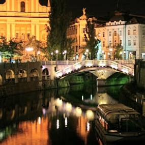 Ljubljana center at night